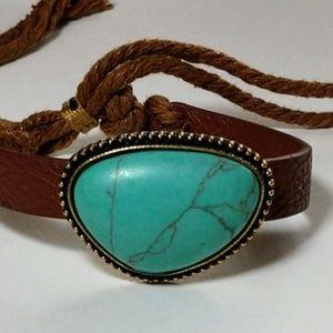 Fashion Turquoise Brown Leather Cord Bracelet